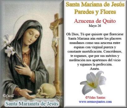 26 DE MAYO SANTA MARIANA DE JESÚS